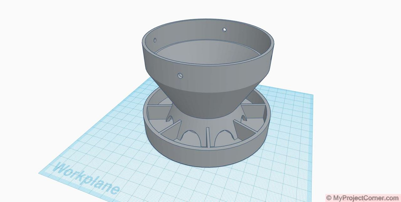 TinkerCad model of my 3D printed chicken feeder for PVC pipe
