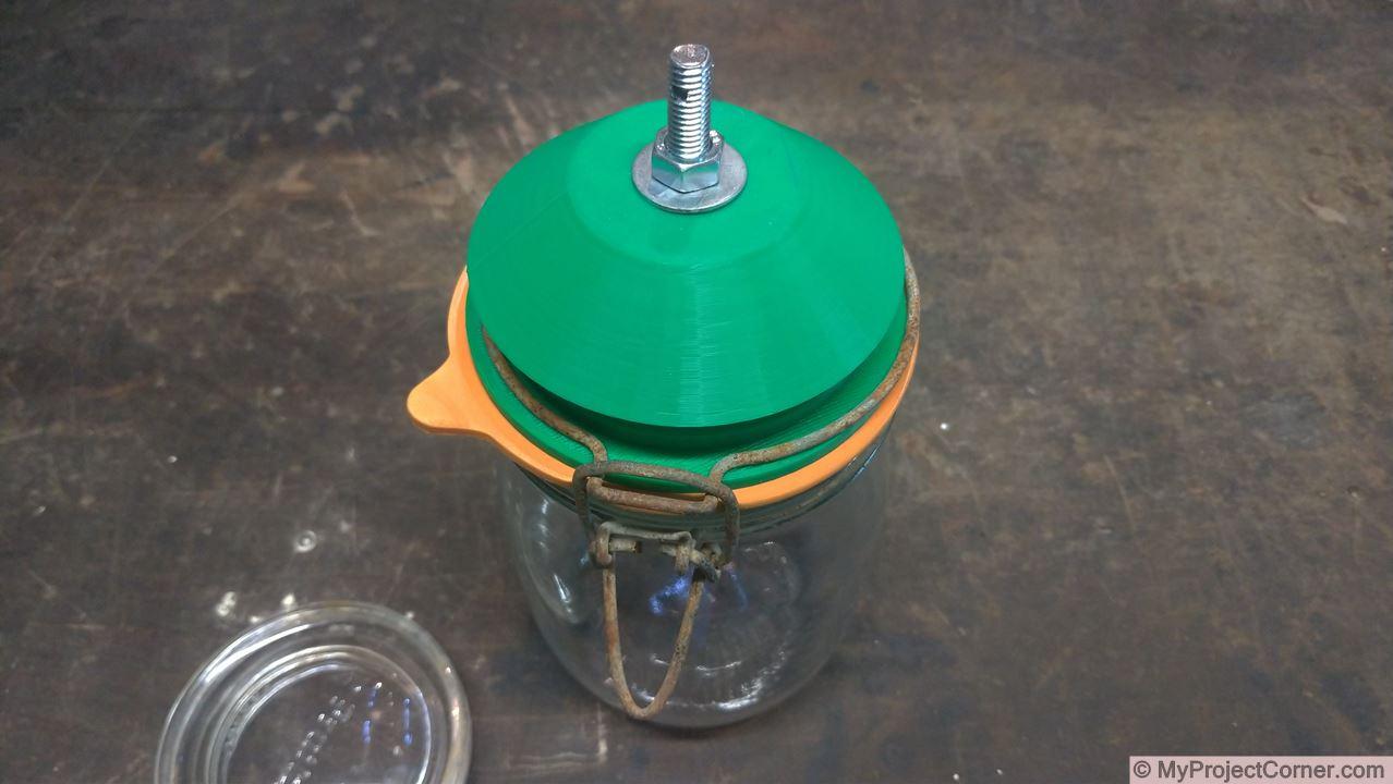 assembled 3d printed storage jar fly trap