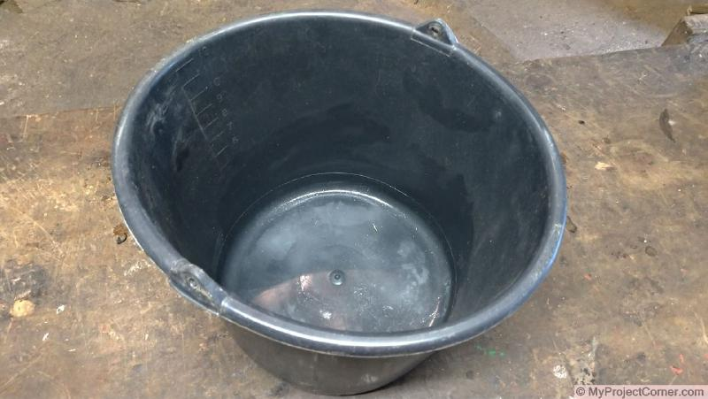 Plastic bucket used for chicken slaughter cone with handle removed