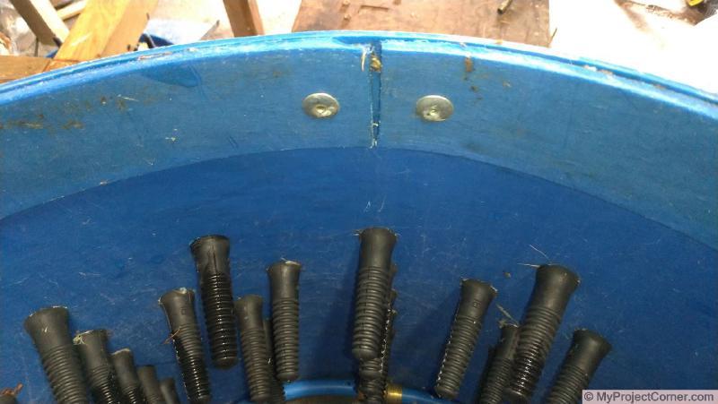Conjunto de tambor desmontable de desplumadora de pollos hecho en casa