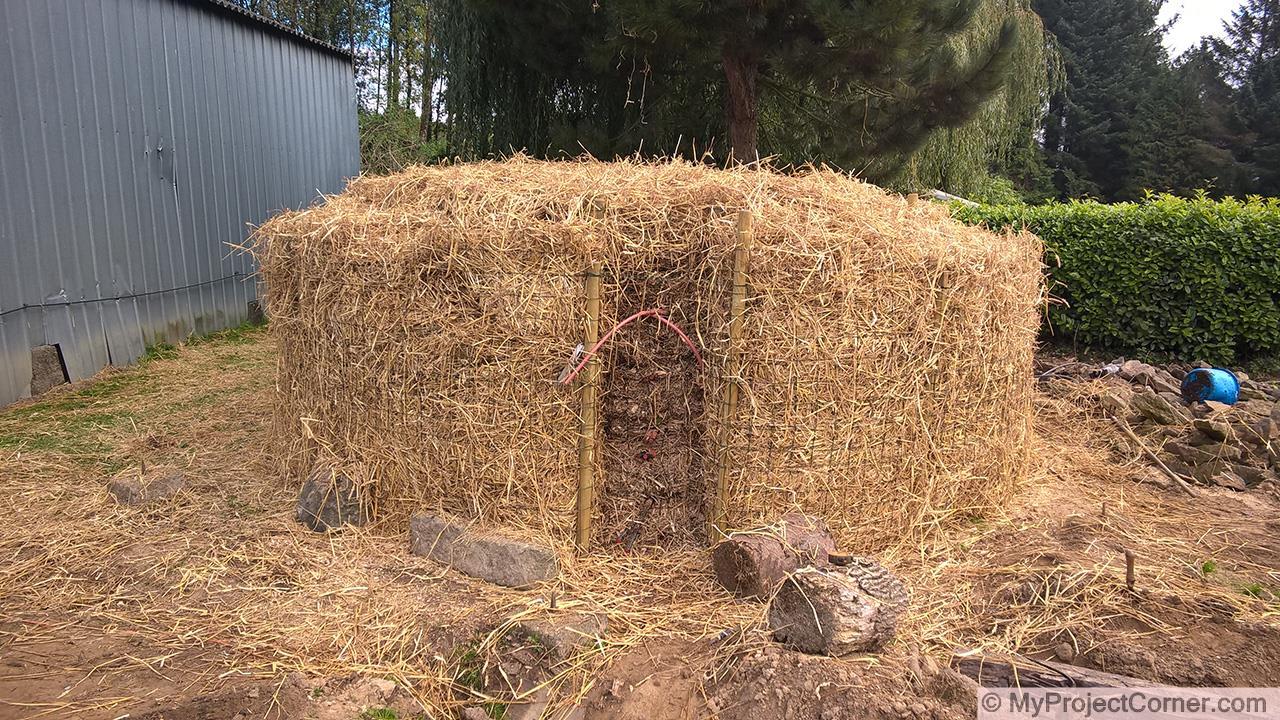 Système de chauffage au compost de biomasse fini