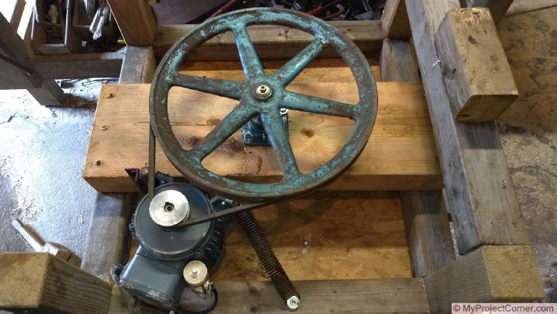 motor and pulley assembly for homemade chicken plucker