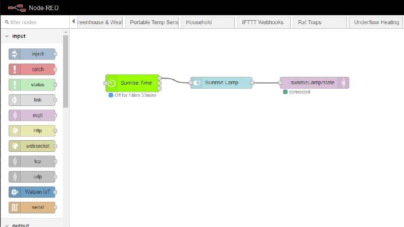 Screenshot of Node Red flow