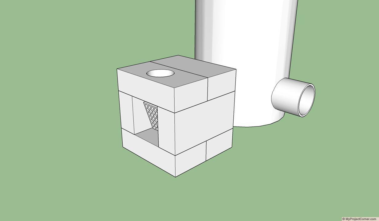 SketchUp model of rocket stove fire box design
