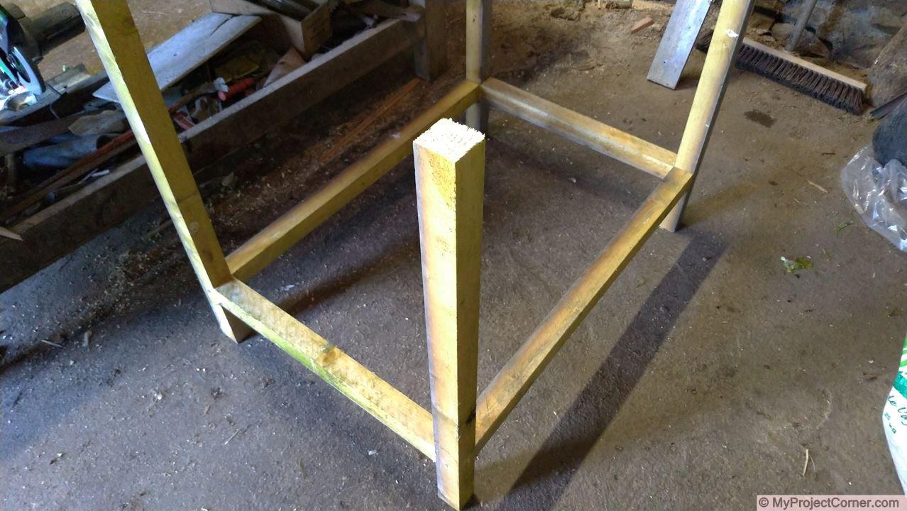 Wooden framework for recycled barrel planter
