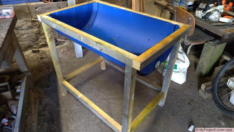 Framework assembled - recycled barrel planter