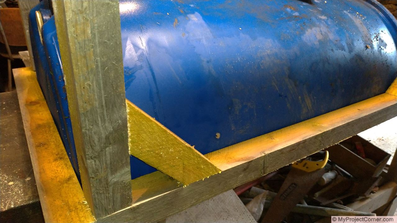 Wooden bracing for recycled barrel planter