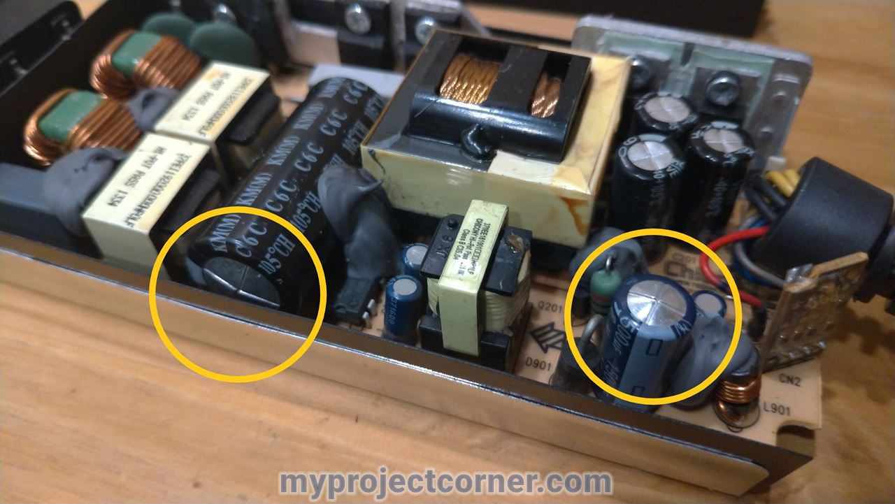 Showing to faulty capacitors